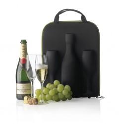 Geantă transport sticlă șampanie și pahare Flute