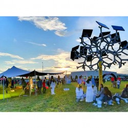 Inchiriere cort african pentru festivaluri alb-argintiu 9x12 m