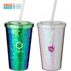 Pahar termic Glitter 470 ml cu imprimeu de paiete