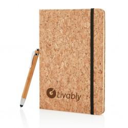 Set agenda A5 din pluta si pix din bambus
