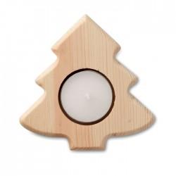 Lumanare cu suport de lemn in forma de brad