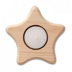 Lumanare cu suport de lemn in forma de stea