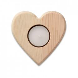 Lumanare cu suport de lemn in forma de inima