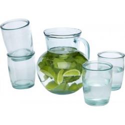 Set sticla cu 2 pahare, din sticla reciclata