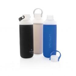 Bidon sport din sticla cu manson din silicon 500ml, 100% reciclabil