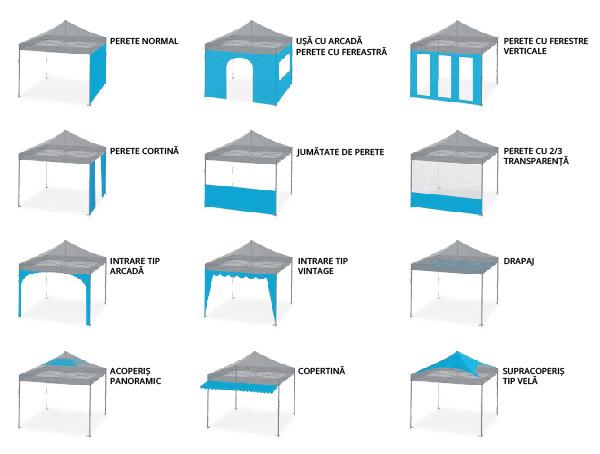Tipuri de pereti cort pavilion pliabil profesional